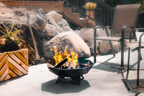 fire in the 2′ Polygon Bowl which is placed on the patio