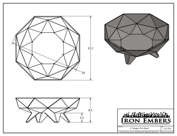 2' Polygon Technical Drawing
