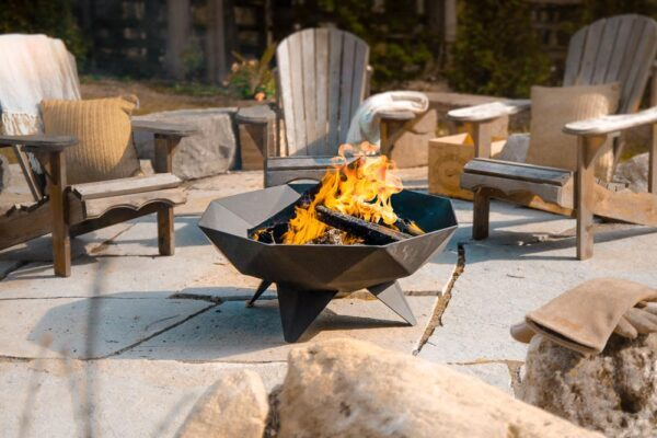 full-sized polygon shaped firepit on a patio setting