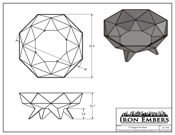 3' Polygon Technical Drawing