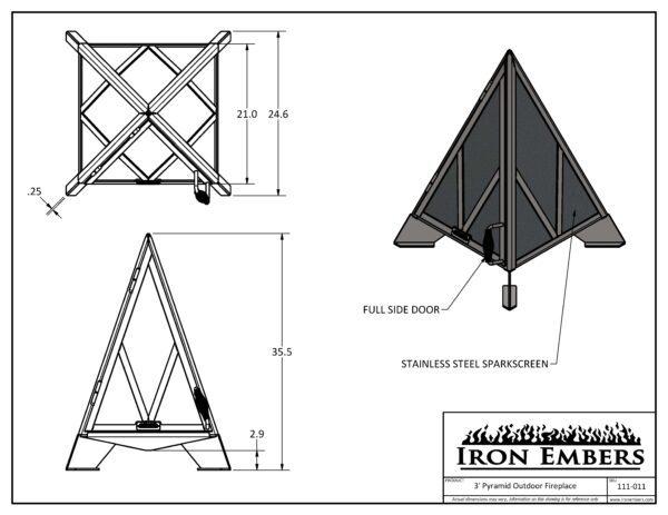 3' Pyramid Technical Drawing