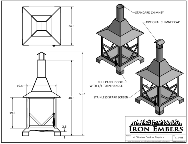 4' Chiminea Technical Drawing