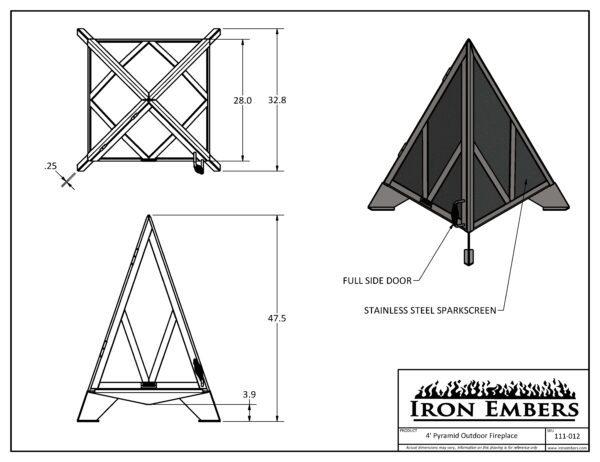 4' Pyramid Technical Drawing