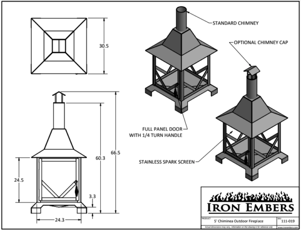 5' Chiminea Technical Drawing