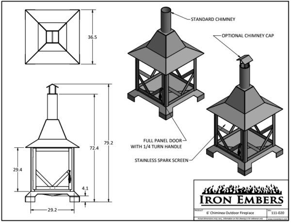 6' Chiminea Technical Drawing