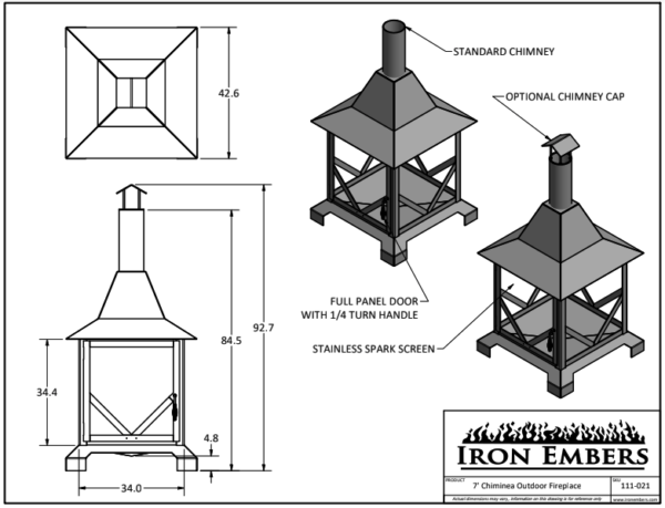 7' Chiminea Technical Drawing