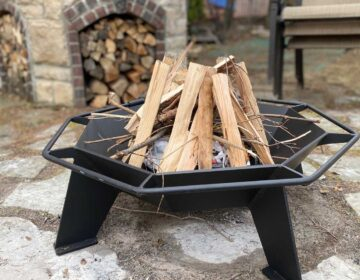 Cottager Fire Pit filled with kindling