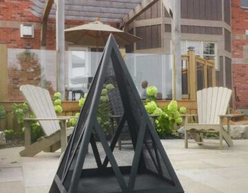 Pyramid outdoor fireplace on patio