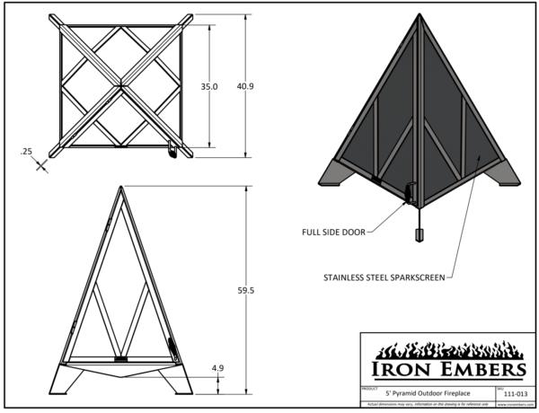 5' Pyramid Technical Drawing