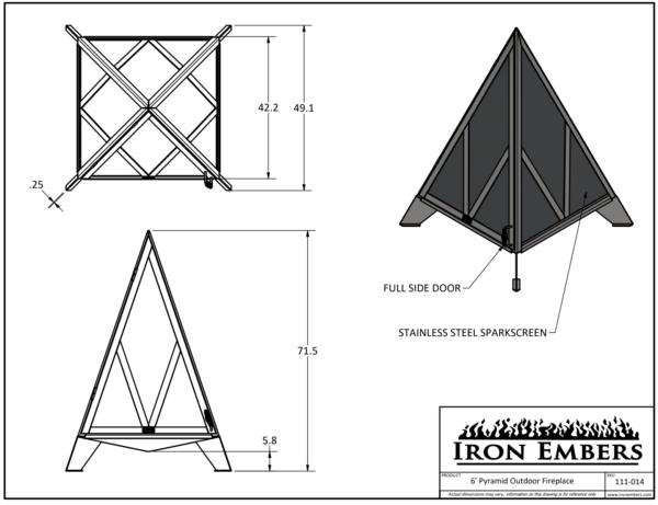 6' Pyramid Technical Drawing