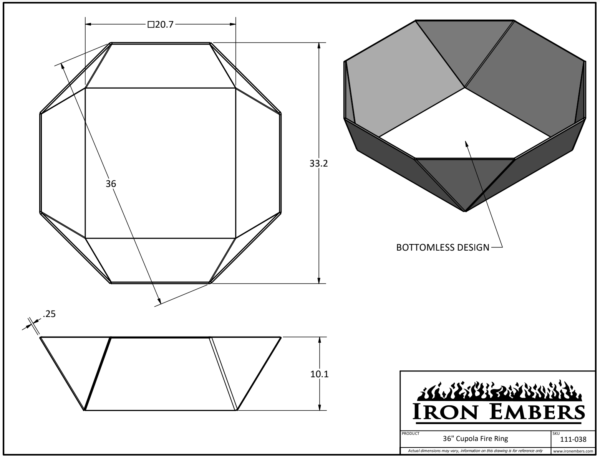 """36"""" Cupola Ring Technical Drawing"""