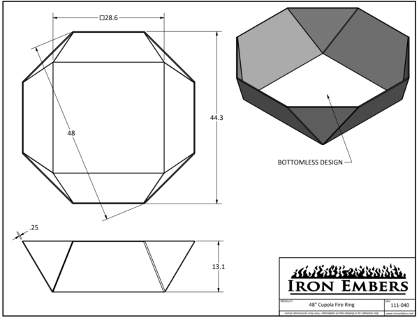 """48"""" Cupola Ring Technical Drawing"""