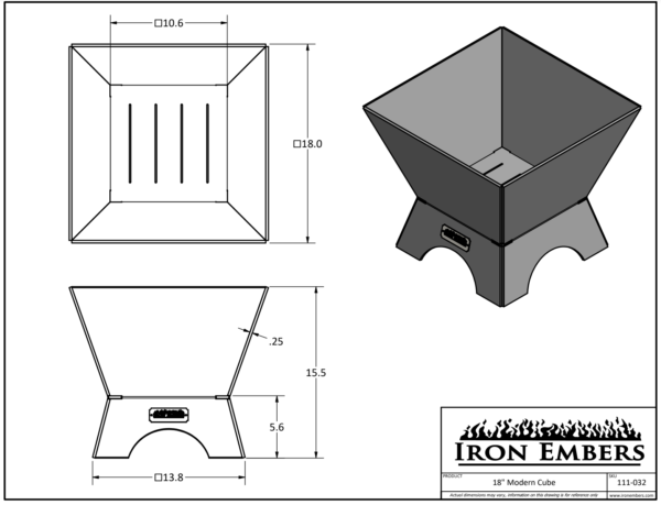 """18"""" Modern Cube Technical Drawing"""