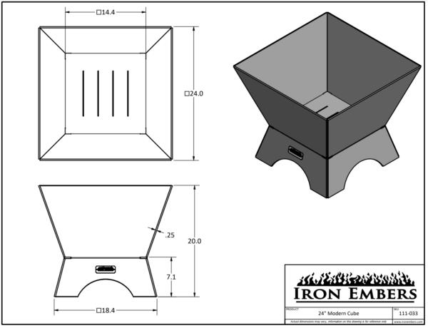 """24"""" Modern Cube Technical Drawing"""