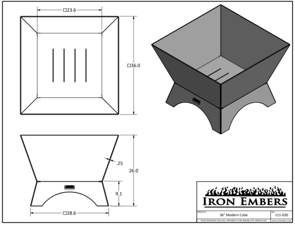 """36"""" Modern Cube Technical Drawing"""